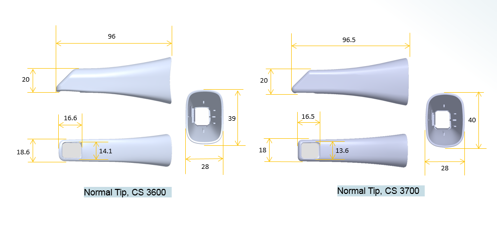 CS 3600 Normal tip. dimentions