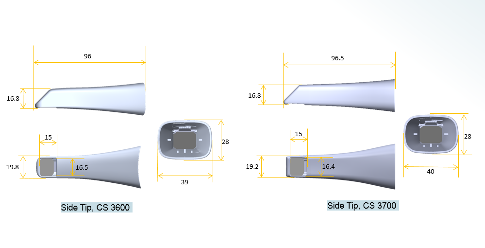 CS 3600 Side tip dimentions